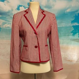 Apt. 9 Jackets & Coats - Red Fitted Stretch houndstooth Suit Blazer
